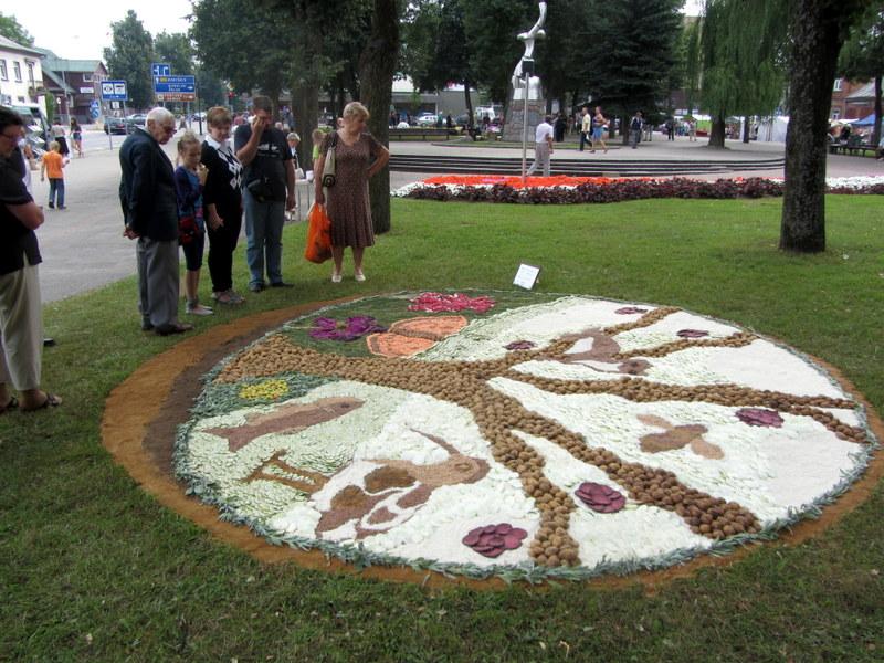 Iš Angalto mokyklos (Vokietija) atvykstantys bendruomenės atstovai kiekvieną vasarą Anykščiuose kuria savo kompozicijas ne iš gėlių, o iš daržovių.