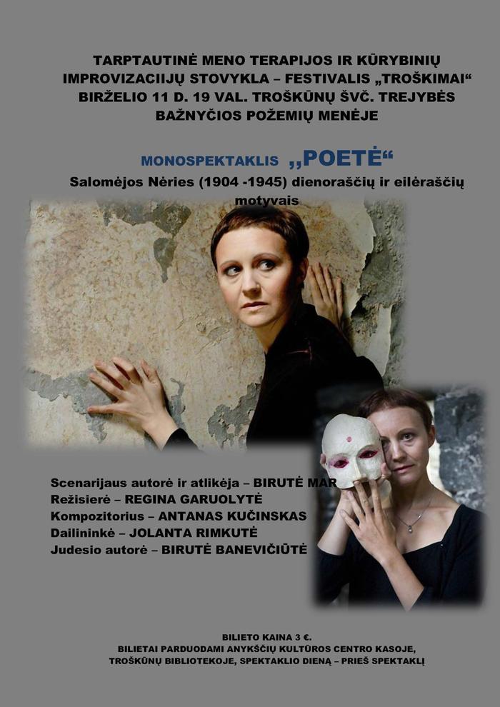 """Monospektaklio """"Poetė"""" afiša."""