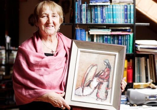 Pirmojo savo kolekcijos angelo – J.Ivanauskaitės dovanoto J.Daniliausko tapyto kūrinio – B. Kleizaitė-Vasaris negali niekam, net Angelų muziejui dovanoti