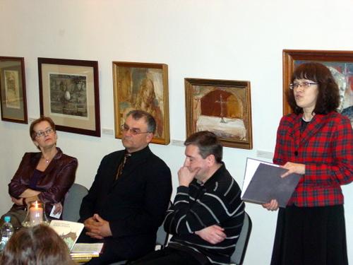 Kultūros vakare - I. Dobrovolskaitė, A. Šajevičius, V. Balčiūnas ir vakaro vedėja R. Babelienė.
