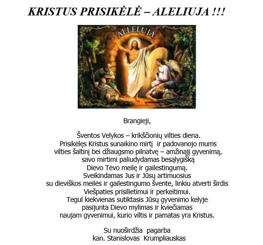 Anykščių rajono Garbės piliečio kanauninko Stanislovo Krumpliausko sveikinimas anykštėnams.