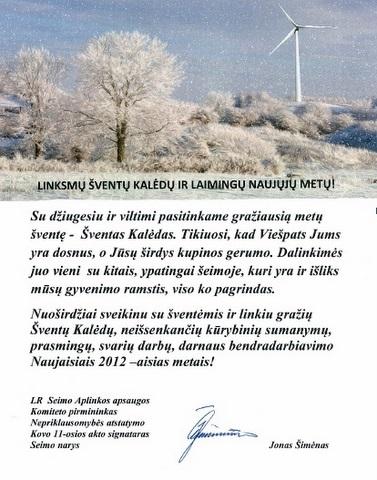 Seimo nario Jono Šimėno sveikinimas