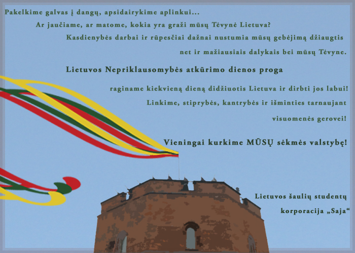 Lietuvos šaulių studentų korporacijos SAJA vardu - pirmininkas sendraugis Mindaugas Nefas