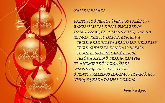 Kauno anykštėnės poetės Veros Vasiljevos sveikinimas