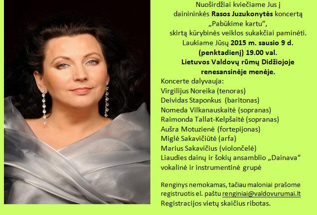 Vilniaus anykštėnai kviečia į R. Juzukonytės jubiliejinį koncertą.