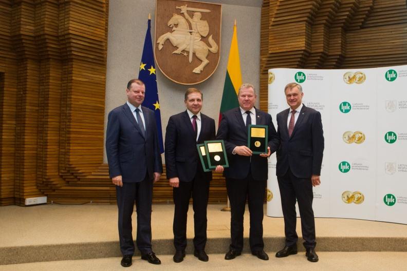 Apdovanojimų įteikimo ceremonijos Vilniuje akimirka.